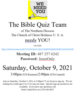 Northern Diocese Bible Quiz Study